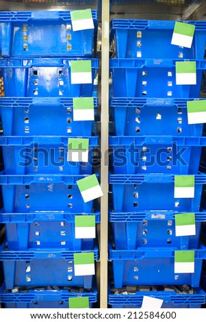 many colored blue plastic crate