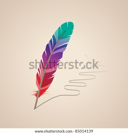 Many-colored feather on beige background. Raster version. - stock photo