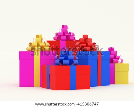 Many colored gift boxes. Several colorful packaging for present. High resolution 3d illustration