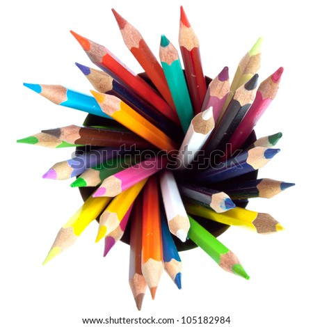 many colored pencils with white background - stock photo