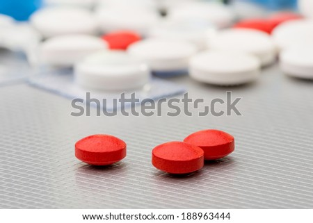 Many colored pils, tablets and capsuls for pharmacy and medicine - stock photo