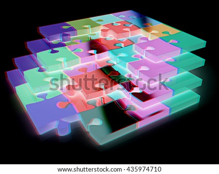 Many-colored puzzle pattern (removable pieces). On a black background. 3D illustration. Anaglyph. View with red/cyan glasses to see in 3D. - stock photo