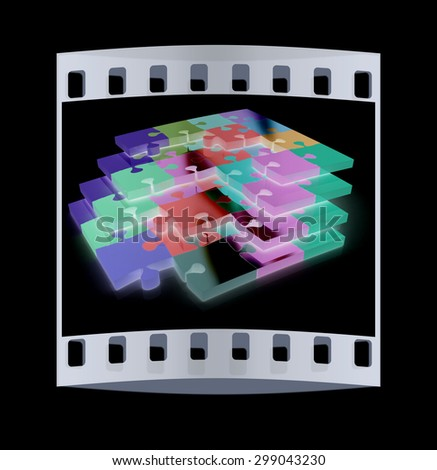 Many-colored puzzle pattern (removable pieces). The film strip