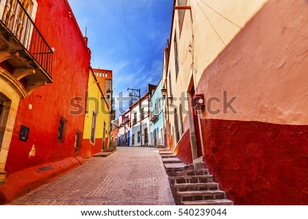 Many Colored Red Yellow Narrow Street Houses of Guanajuato Mexico