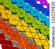 many colored triangle shapes extruded to different high - stock photo
