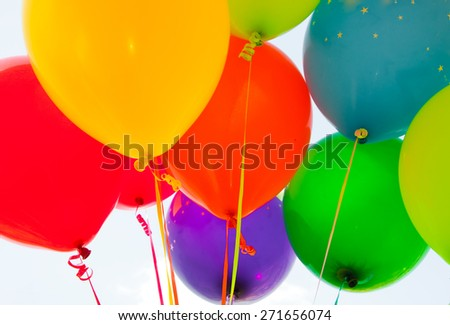 Many colorful balloons - stock photo