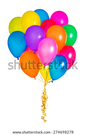 Many colorful balloons isolated on white background