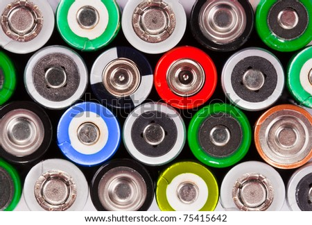 Many colorful batteries. Use for background or texture