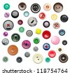 Many colorful buttons isolated on white - stock photo