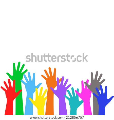 Many colorful children hands, vote upwards - holiday background