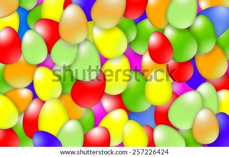 Many colorful Easter eggs illustration background.