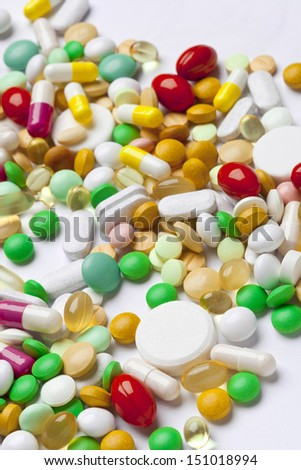 Many colorful medicines - stock photo