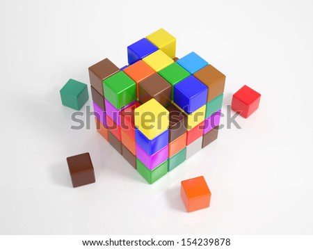 Many colorful small cubes building a big cube