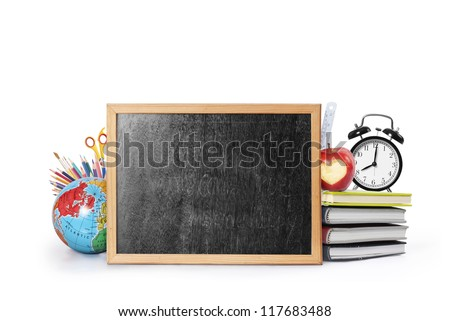 Many Colorful stationery of an assortment on  table - stock photo