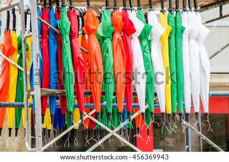 Many colorful umbrellas f