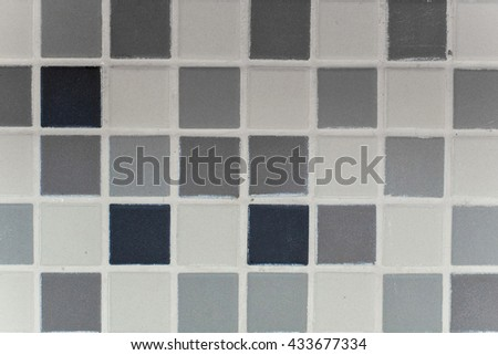 Many Colors of Tiles on a Wall, Grey, White, Black - stock photo