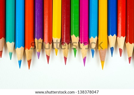 many coloured crayons