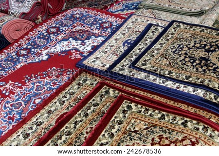 many colourful oriental carpets for sale in the shop of rugs - Carpets For Sale