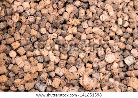 many corks made from cork wood - background, texture - stock photo