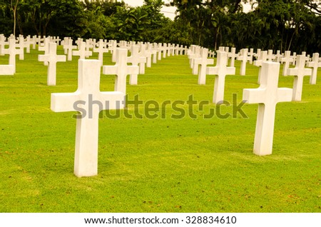 many crosses in cemetery
