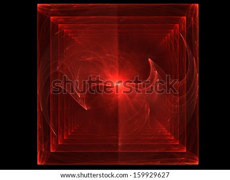 Many cubes in cube. Beautiful red background