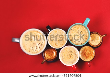 Many cups of coffee - stock photo