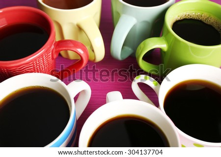 Many cups of coffee, closeup - stock photo