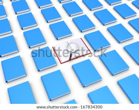 Many 3d books and one is open with a magnifier on top - stock photo