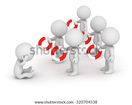 Many 3D characters offering help to character in distress. Isolated on white background.