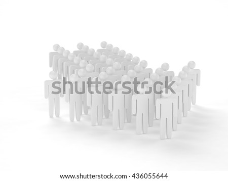 Many 3d people figure in arrow shape with the leader in front. 3d rendering. - stock photo