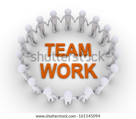 Many 3d people form a circle and a Team Work word is at the center