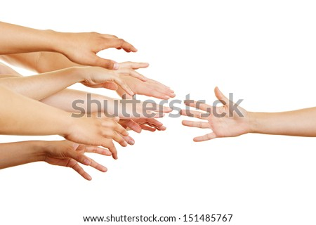Many desperate arms reaching for a helping hand