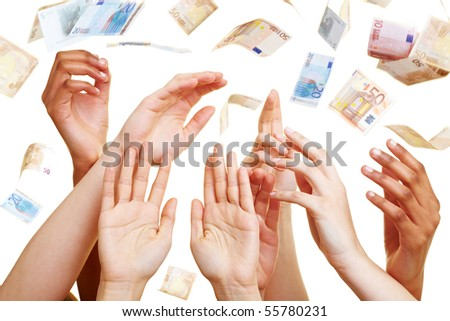 Many desperate hands reaching for Euro banknotes - stock photo