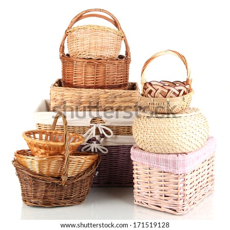 Many different baskets isolated on white - stock photo