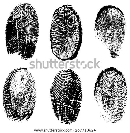 many different black fingerprints - stock photo