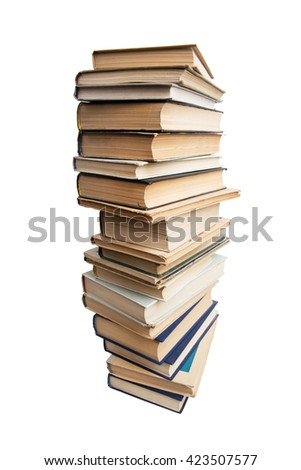 Many different books on a white background