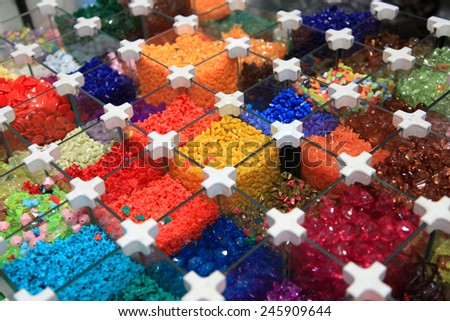 Many different colorful beads up for sale - stock photo