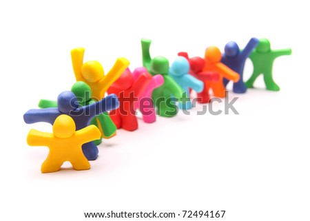 many different colorful plasticine people standing in line