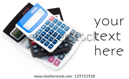 Many different design calculators on a white background - stock photo