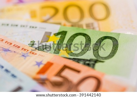 many different euro bills - stock photo