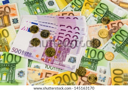 many different euro bills. photo icon for wealth and investments. - stock photo