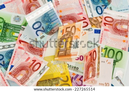 many different euro bills. symbol photo for wealth and investment. - stock photo