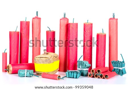 many different firecracker before white background - stock photo