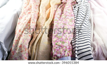 many different garments as a background - stock photo