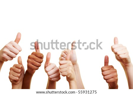 Many different hands showing their thumbs up - stock photo