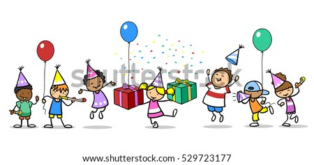 Many Different Kids Celebrating Birthday With Balloons And Gifts