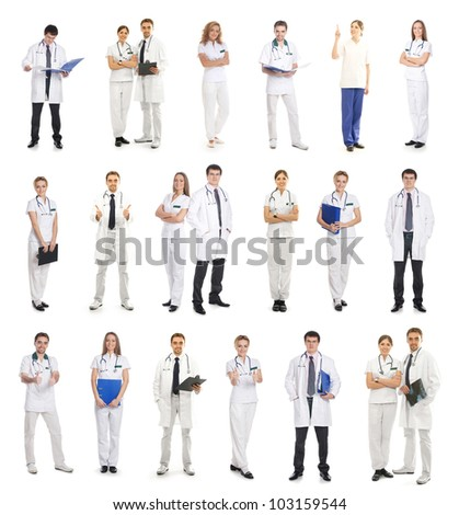 Many different medical workers isolated on white - stock photo