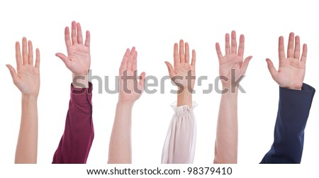 many different people hands raised up isolated on white background - stock photo