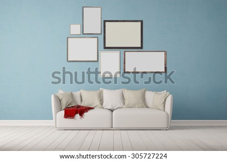 Many different picture frames on wall over a sofa in a living room (3D Rendering) - stock photo
