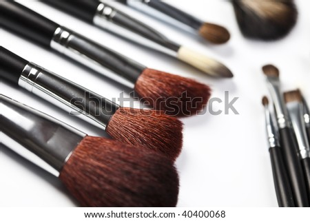 Many different professional makeup brushes